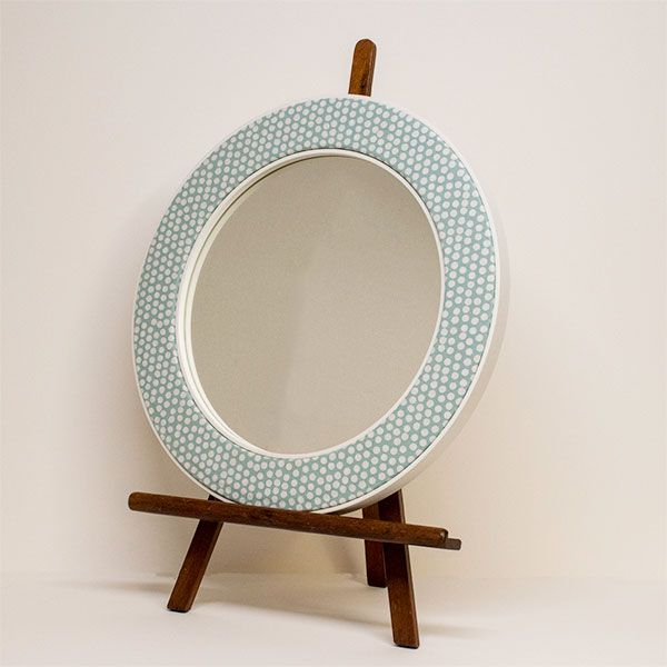 The Maggie Seafoam Mirror on an Easel