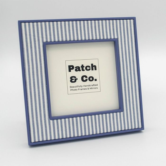 Alice Blue Striped Photo Frame with Blue Frame