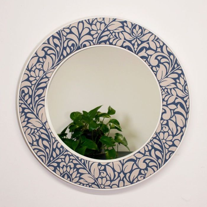 The Alison Floral Patterned Blue and White Round Mirror