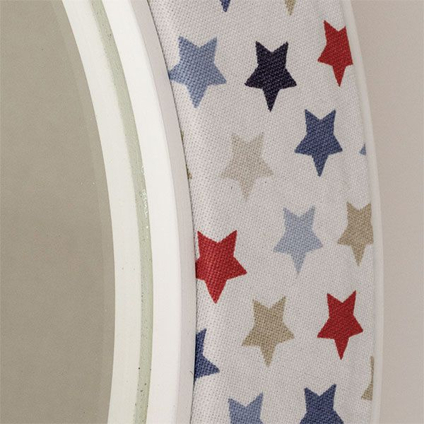 Close up of the Oliver Fabric with Blue and Red Stars