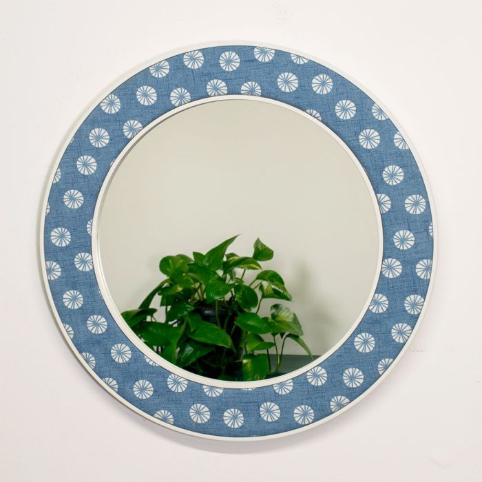 The Octavia Round Mirror in Blue with Reflection
