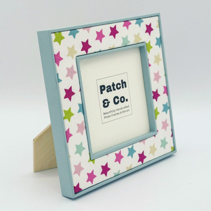 Square Oliver Fabric Photo Frame in Pink with Green Frame