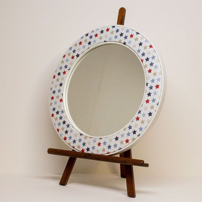 The Oliver Mirror on an Easel with Blue and Red Stars