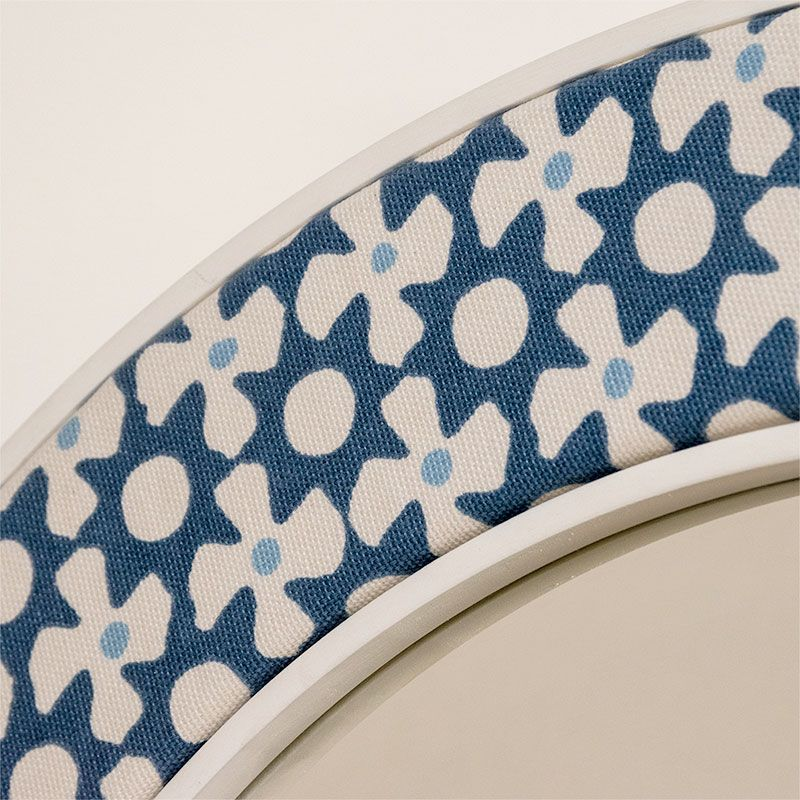 Close up fabric photo of the Minty Mirror in Blue