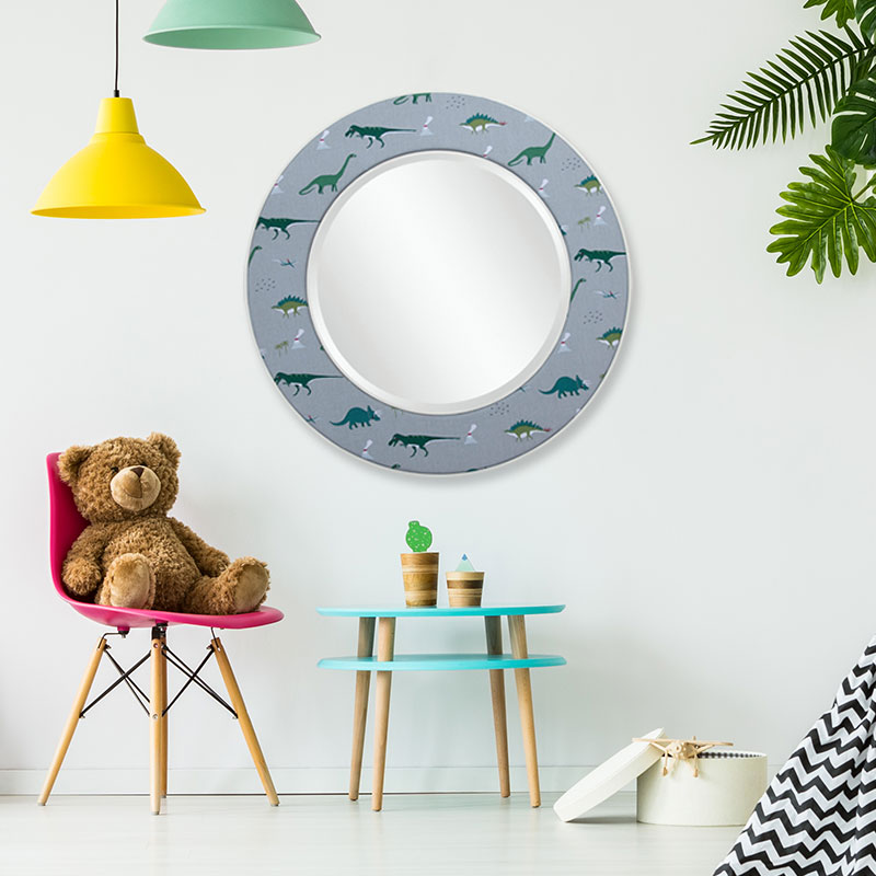 Dinosaurs Mirror in playroom - Square - Childrens collection
