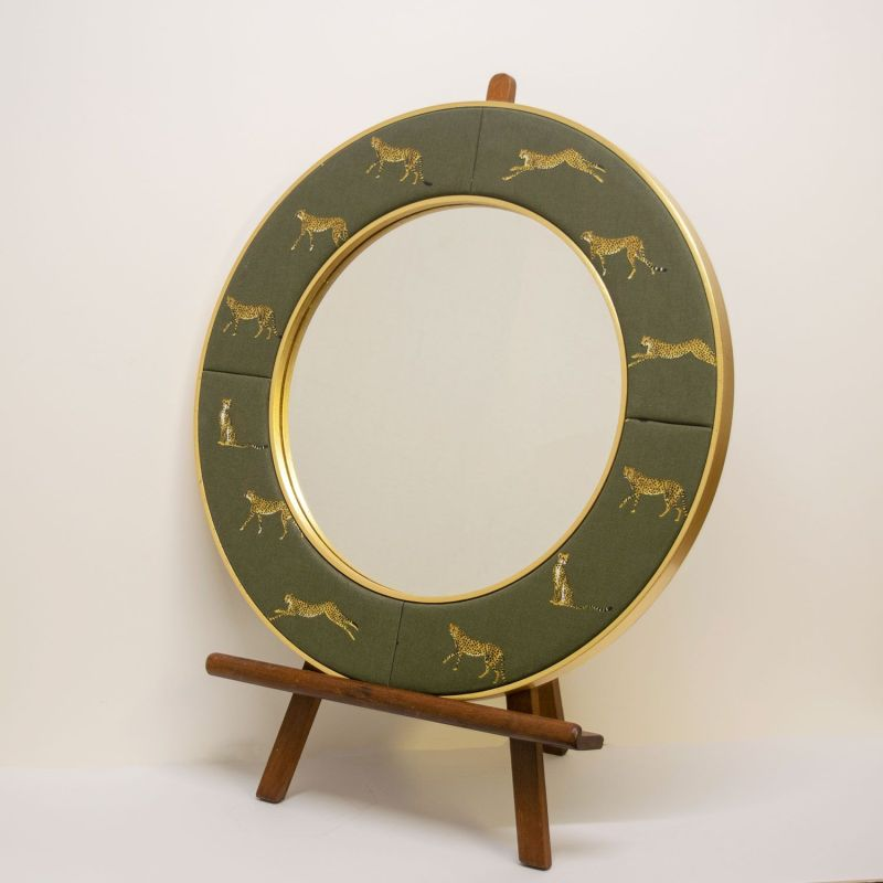 The Lewa Cheetah Mirror in Green and Gold Fabric designed by Sophie Allport with Gold Metal Lead Frame