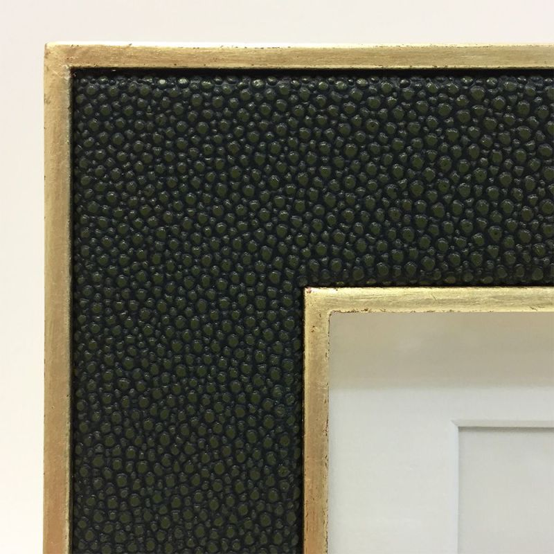 Close Up Image of the Moss Green Faux Shagreen Photo Frame with Gold Frame