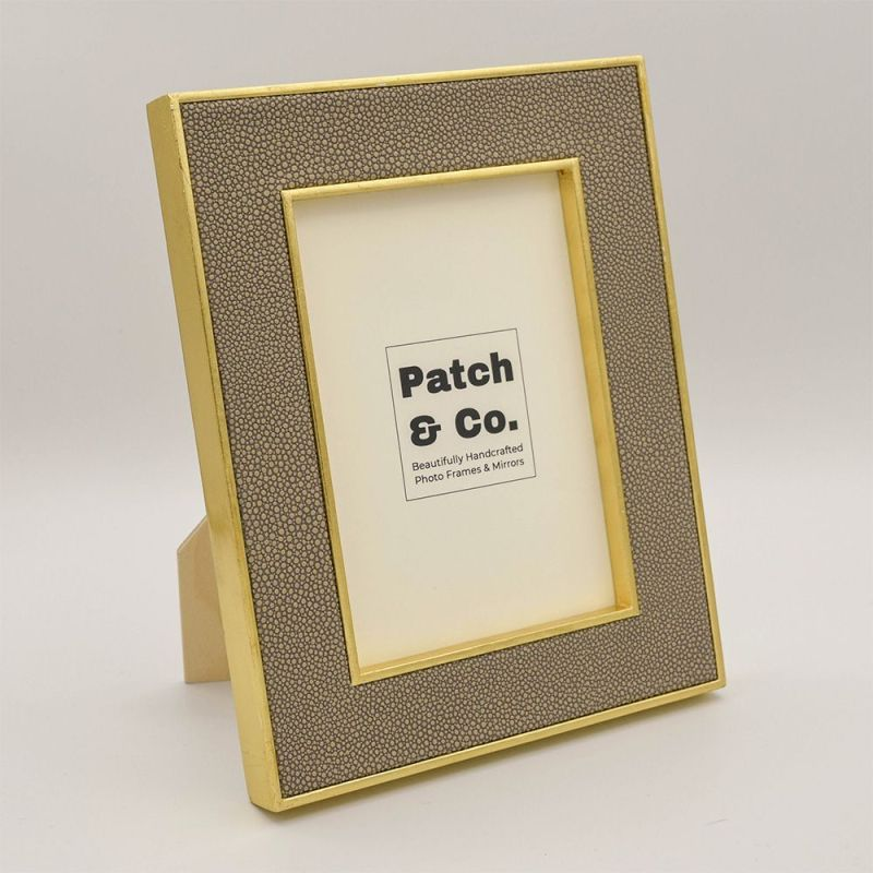 7 x 5 Sand Colou Faux Shagreen Photo Frame with Gold Frame
