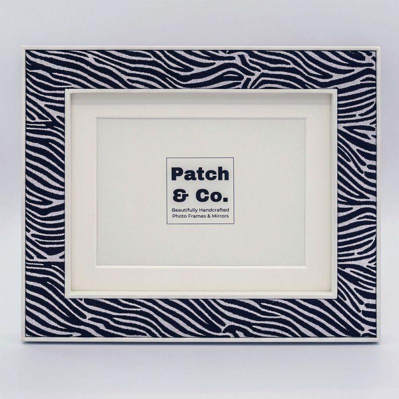 Lewa Zebra Print Fabric Photo Frame with White Frame and Mount