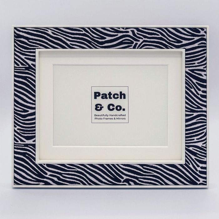 Lewa Zebra Print Fabric Photo Frame with White Frame and Mount