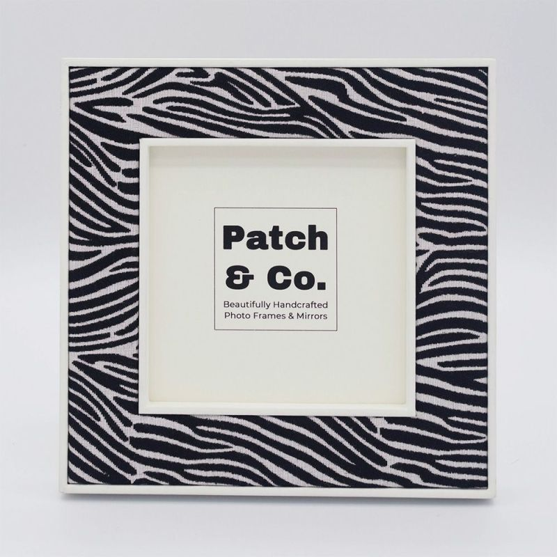 White Framed Square Zebra Print Fabric Photo Frame - 5 x 5