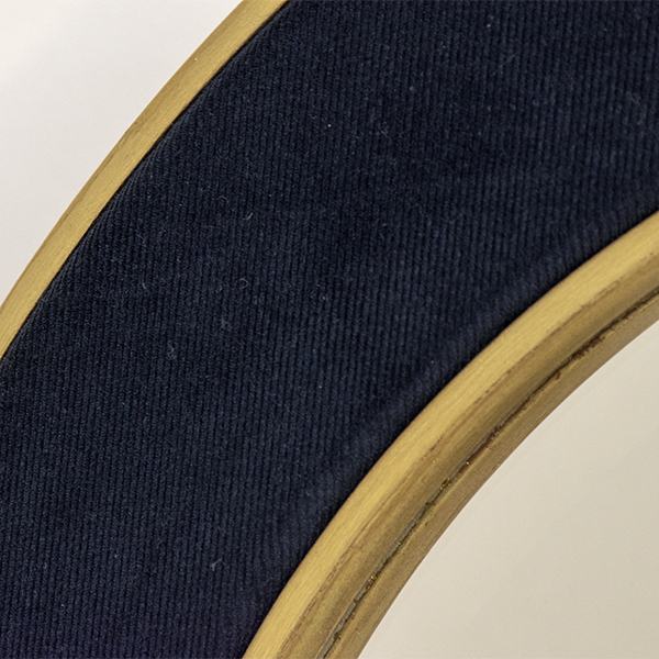 The Patrick Mirror with Navy Corduroy and Metal Leaf Gold Frame