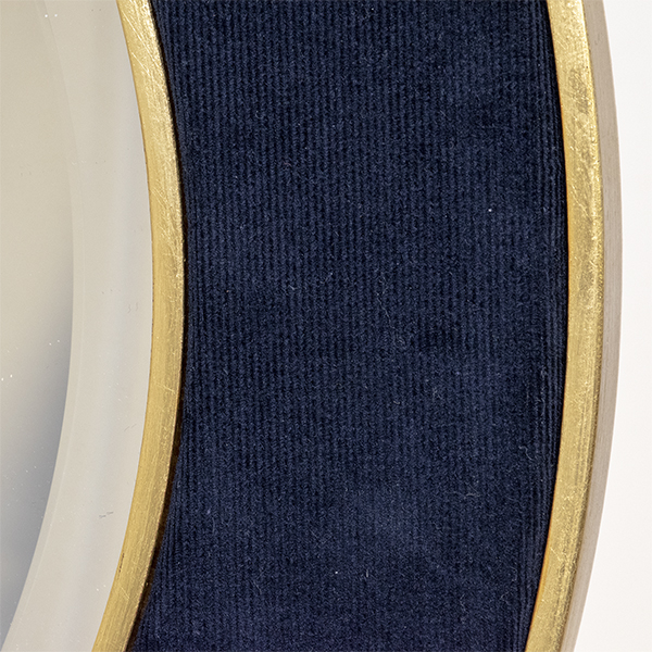 The Patrick Corduroy Mirror in Navy with Gold edge and bevelled mirror glass