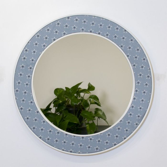Shooting Stars Round Mirror in Navy