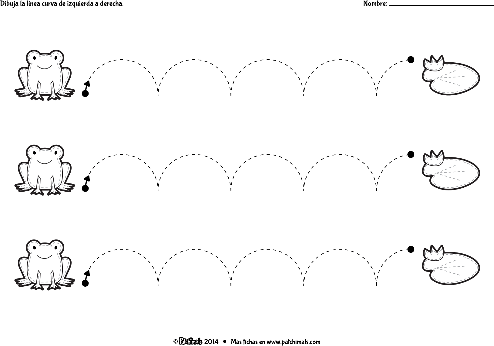 Tchimals Downloads Tracing Curved Frog