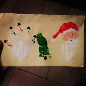 lustig Insoiration Basteltipp Handabdruck Weihnachten