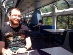 Some weirdo coding on a train.