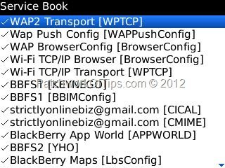 Delete BlackBerry WAP Connection Servicebooks