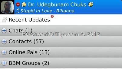 BlackBerry Messenger What's Playing Status