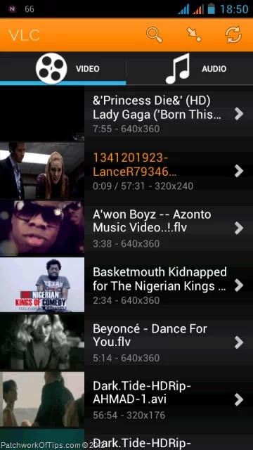 Video Library List In VLC For Android