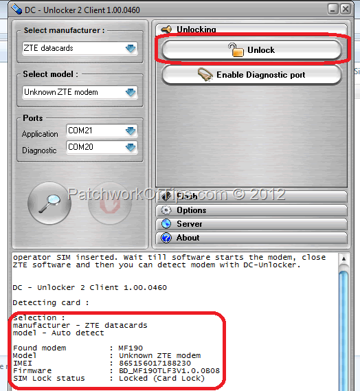 Unlocking the MTN - Airtel ZTE MF190 USB Internet Modem
