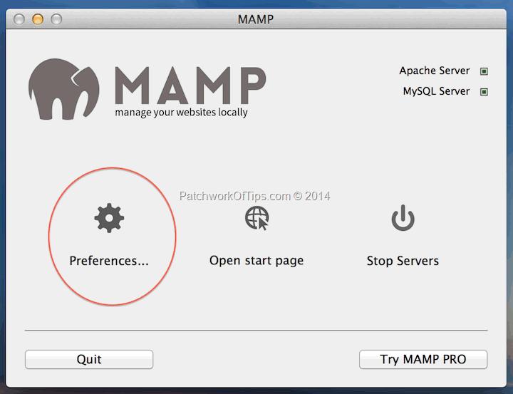 MAMP for MAC Panel Setup