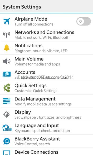 BlackBerry 10 System Settings