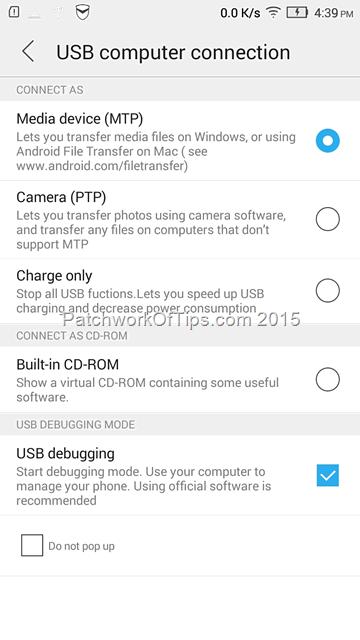 Lenovo P70-A USB Debugging