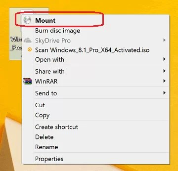 Mount Windows 8 ISO