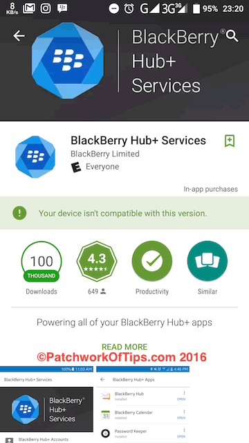 BlackBerry Hub+ Services Not Compatible With Android MarshMallow