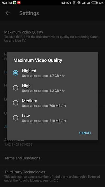 DSTV NOW Review – Stream Maximum Video Quality Setting