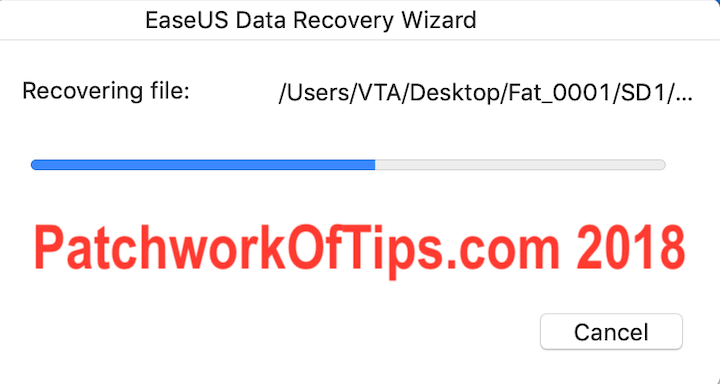 EaseUS Data Recovery Progress