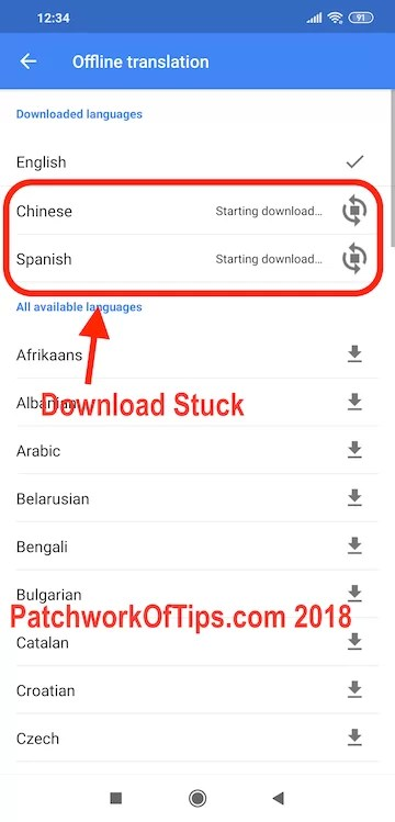 google translate cant download language