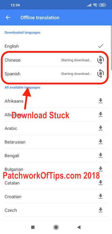 Google Translate Offline Translation Download Stuck