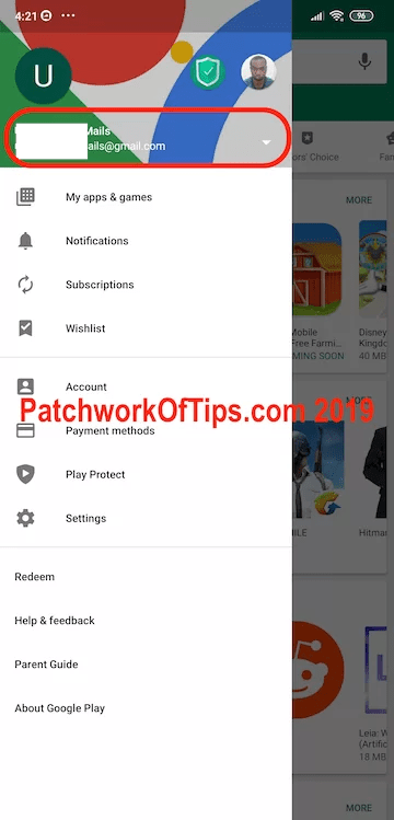 Swicth Google Accounts In Google Play Store