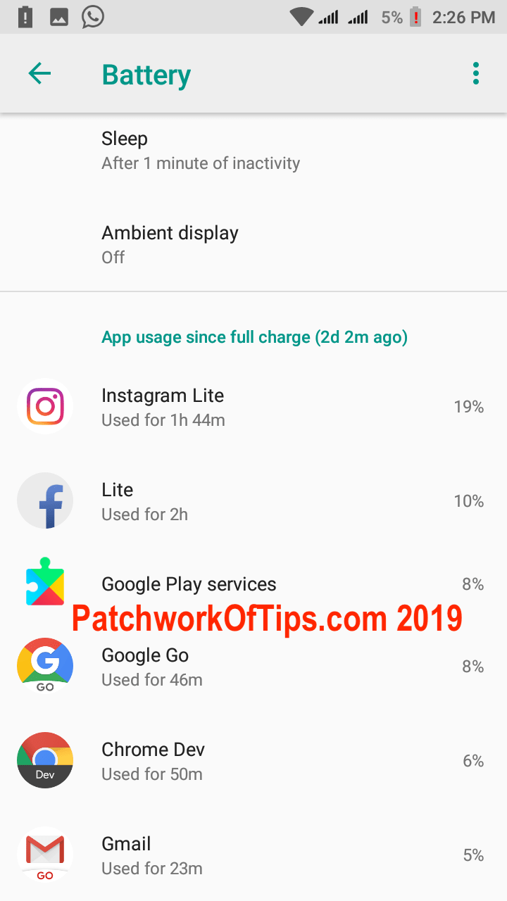 Xiaomi Redmi Go Screenshots Daily Battery Life Apps Used 1