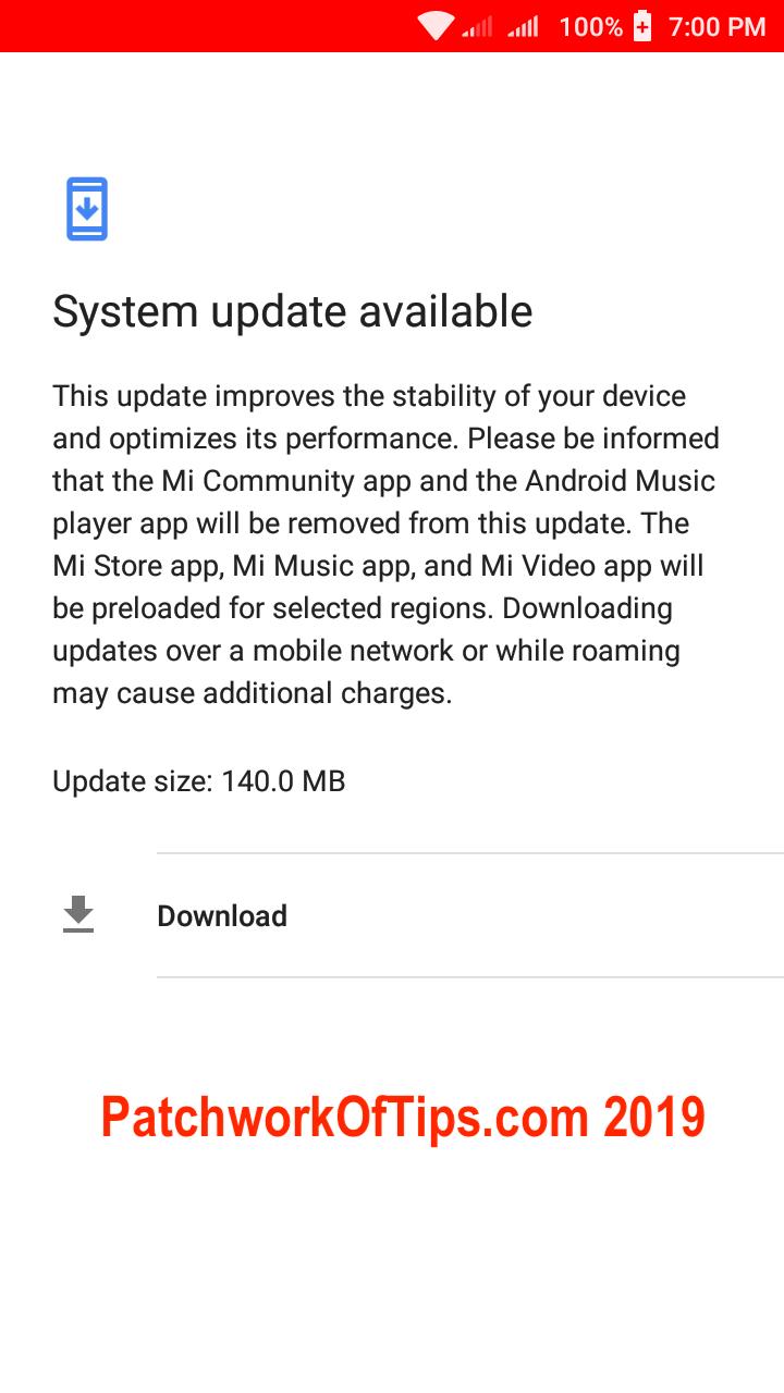 Xiaomi Redmi Go Screenshots System Update