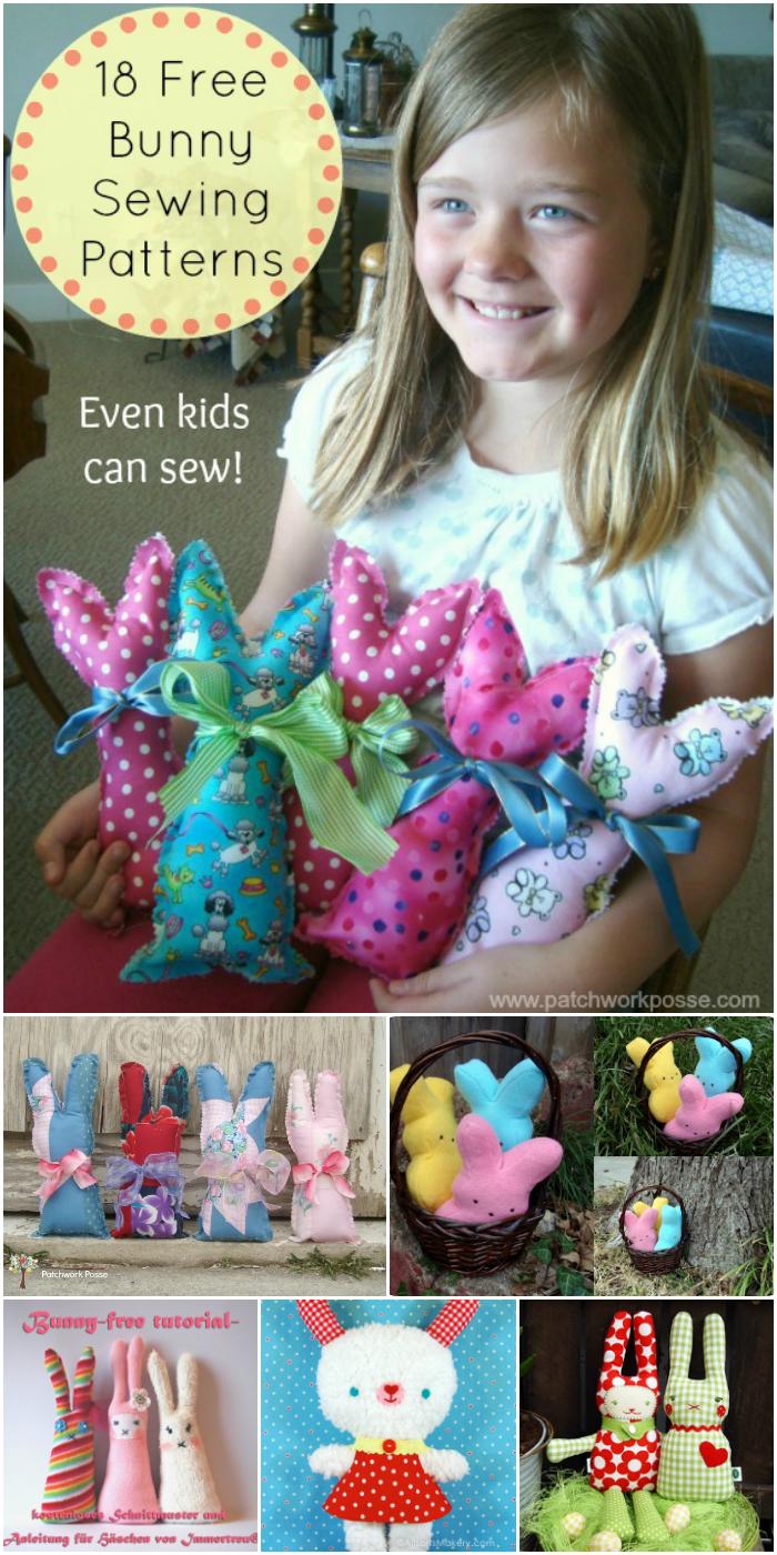 Bunny Pattern Template Plus 18 Free Easter Bunny Sewing Patterns