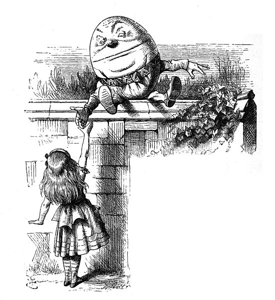 John Tenniel illustration of Alice and Humpty Dumpty.
