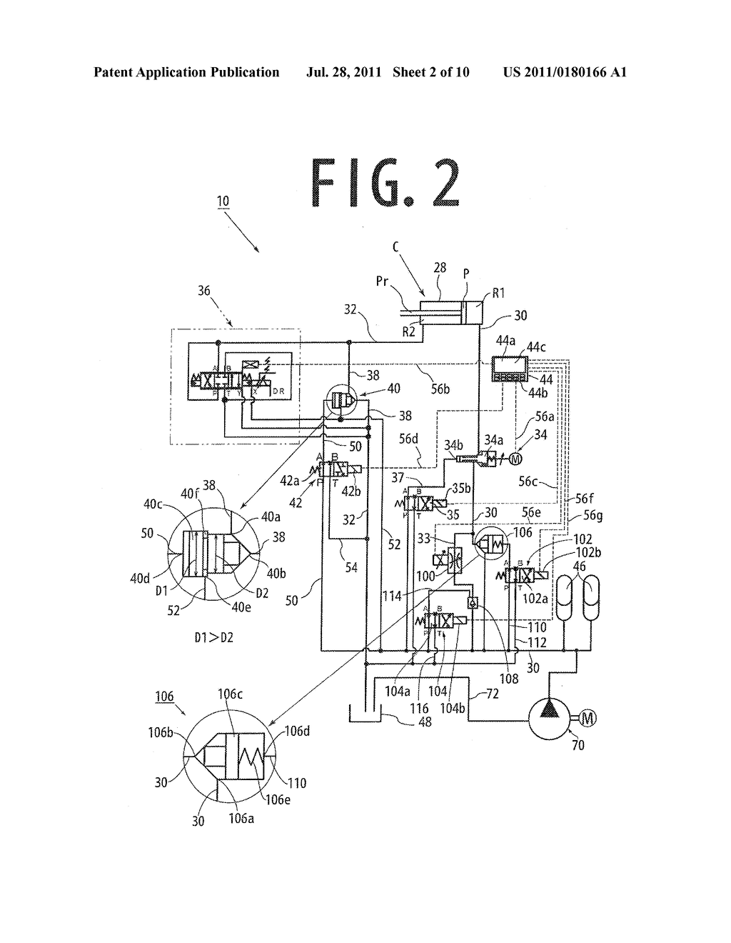 Hydraulic circuit of injection cylinder in die casting apparatus