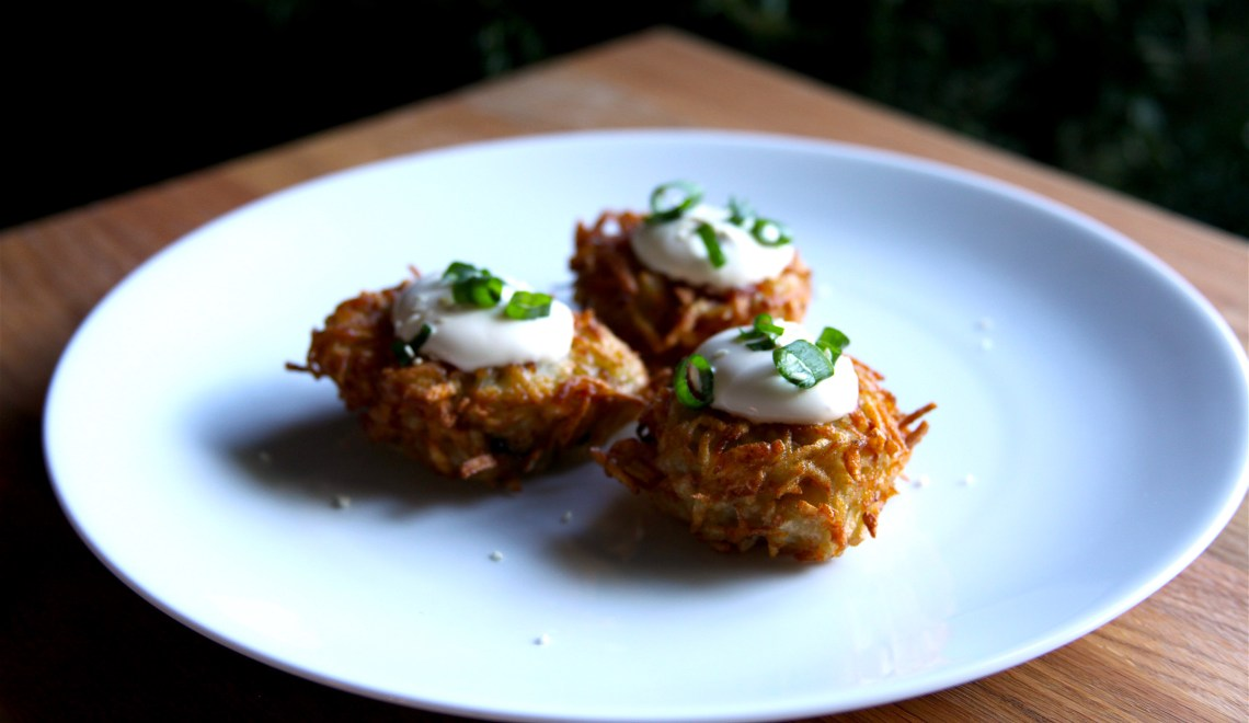 Scallion Latkes with Sesame Cream (Asian Latkes)
