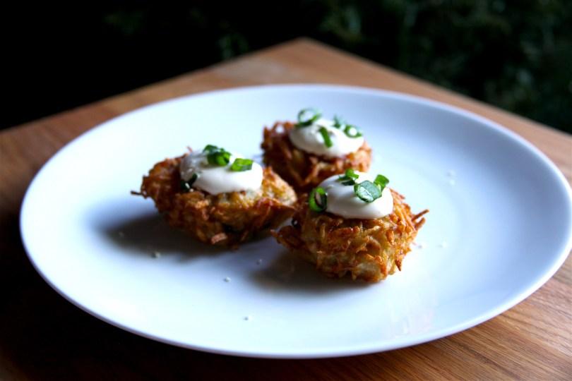 Scallion Latkes with Sesame Cream (Asian Latkes) Recipe