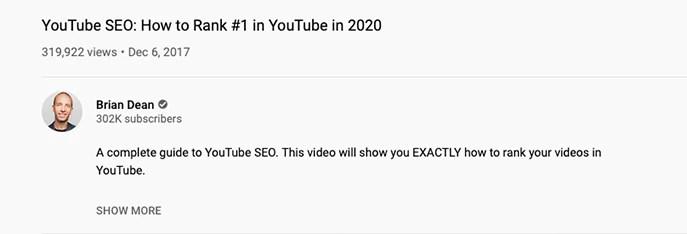 Beispiel für gute YouTube Meta-Daten