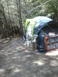 Homeless person living in a tent