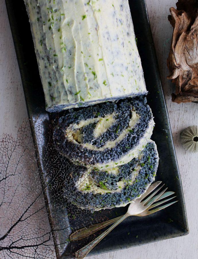The blu-ubé ricotta roll-up cake