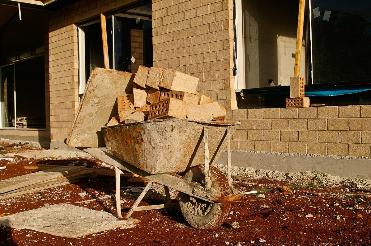 wheel barrow, construction, house