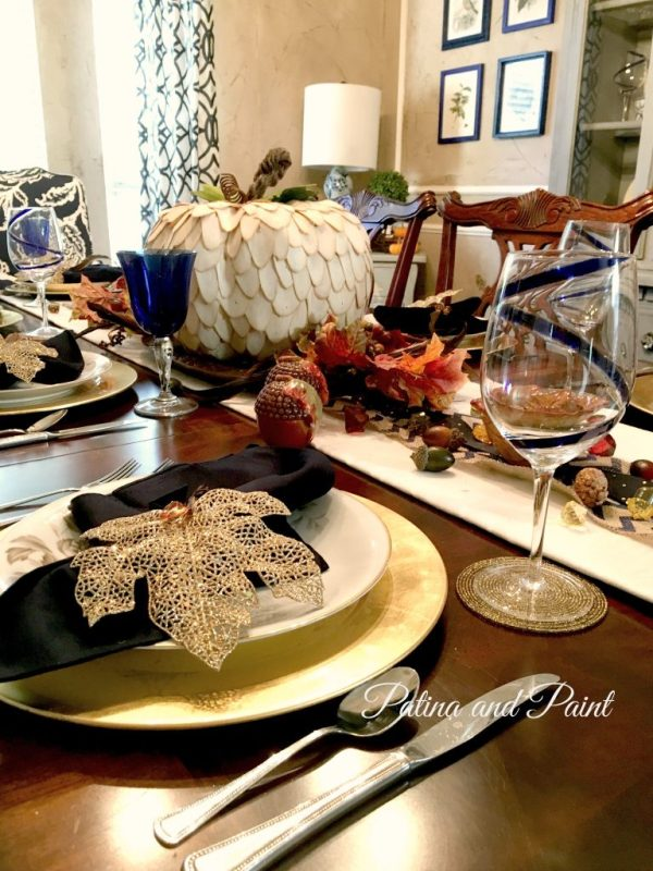 Blue and brown Thanksgiving table 8