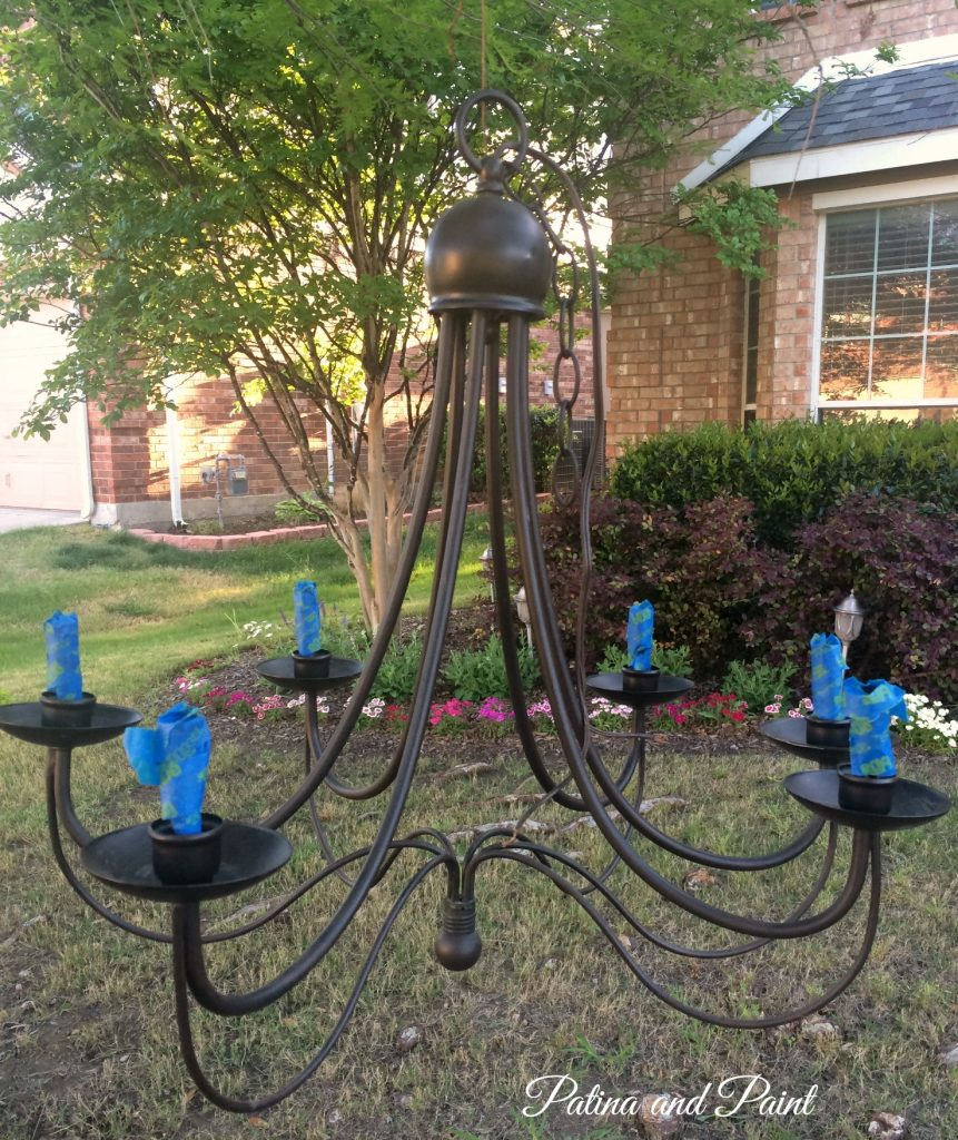 diy chandelier before and after patina and paint