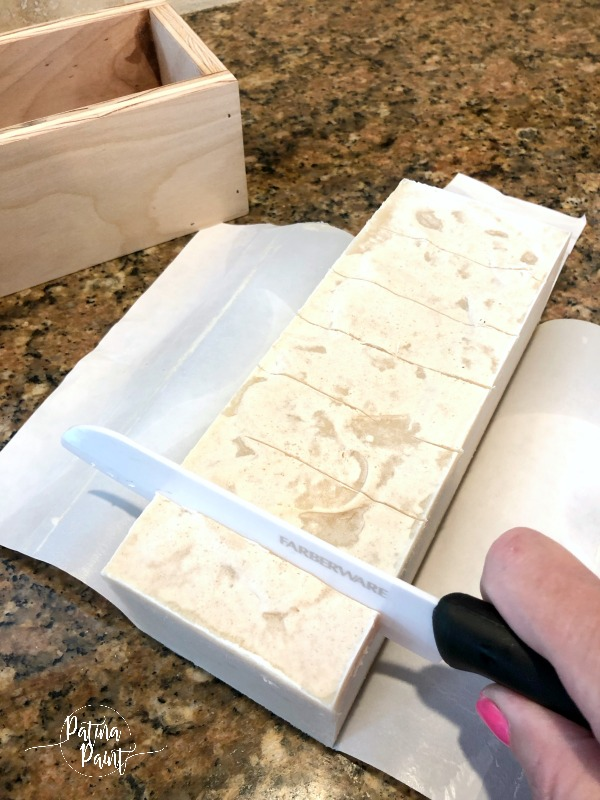 cutting goat milk soap