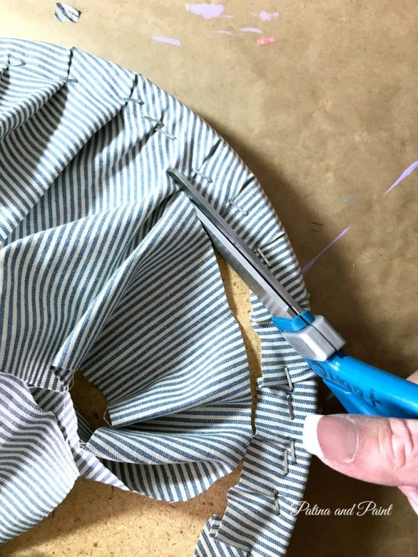 Trimming extra fabric